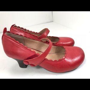 Miz mooz Tate Red Leather Mary Jane Heels 6.5